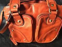 Ri2k burnt orange coloured leather bag
