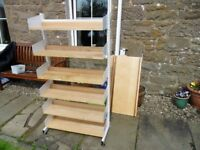 STURDY METAL SHELVING WITH 5 BEECH SHELVES office/home/garage/display/shed KINGSMUIR FORFAR