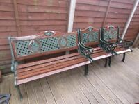 GARDEN BENCH AND X2 CHAIRS