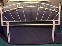"""Double bed white metal headboard with """"brass"""" effect detail, condition = as new"""