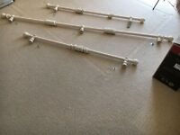 3 x Curtain poles - Wooden. Cream.