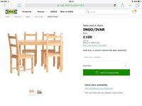 IKEA light wood 4 seater table and chairs