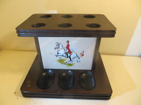 Vintage Irish Wooden Pipe Holder. Horses Tobacianna Pipe Stand Pipe Rack