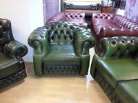 Lovely 3 piece green leather chesterfield. 3 setter high back armchair&armchair. perfect condition.
