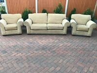 Three pieces fabric suite, three setaer sofa, couch, settee 2x single chairs (free local delivery)