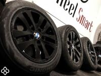 "GENUINE BMW 16"" ALLOY WHEELS & TYRES - 5 X 120 - 205 55 16 - CRYSTAL BALCK SILVER - Wheel Smart"