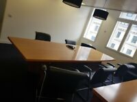 Barrel shaped solid wood boardroom table