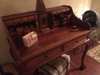 antique writing desk lovely condition lots of hidden drawers claw feet