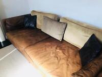 THREE PIECE SUITE - Genuine leather sofa suite