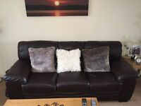 3 seater brown leather settee and single chair