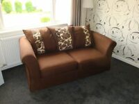 good quality DFS two seater . sofa bed . [ double ] brown fabric .