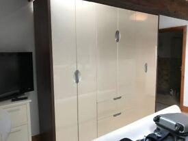 Large Triple Bedroom Wardrobe in Fantastic Condition Cream & Walnut 237x60x224cm