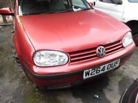 2000 VOLKSWAGEN GOLF SE (MANUAL PETROL)(FOR PARTS ONLY)