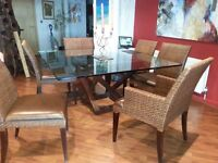 Large Glass Topped Dining Table Together With 6 Chairs