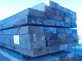 RAILWAY SLEEPERS NEW 2.4 MET LONG X 100 X 200 ONLY £15 + VAT OTHER SIZES IN STOCK OLD AND NEW