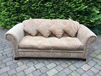 3 Seater Patterned Fabric Sofa with 4 Matching Cushions £50