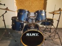 Mapex V-Series Midnight Blue Double Brace Hardware 5 Piece Drum Kit & Cymbals