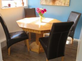 TABLE,SOLID WOOD OCTAGONAL & 4 BROWN FAUX LEATHER CHAIRS