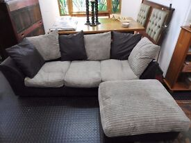 Modern Three Seater Sofa With Attachable Footstool