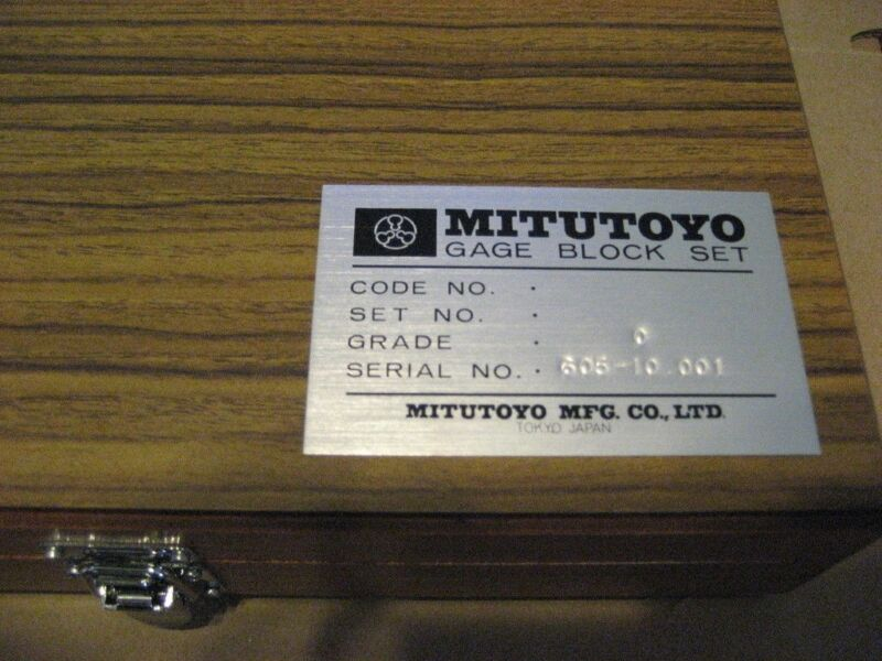 MITUTOYO 485608S 9PC GAGE BLOCK SET (AA8309-1)