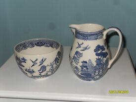Wedgwood of Etruria & Barlaston Willow Pattern China Milk Jug & Sugar Bowl