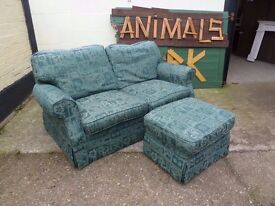 Green Fabric Sofa and Footstool Ottoman Delivery Available