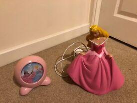 Princess lamp and Disney clock