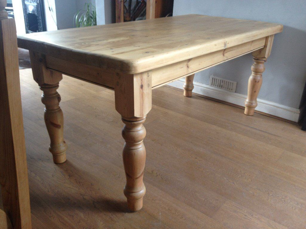 Lovely large antique pine dining table.