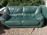 Free 2 and 3 seater Green leather sofas