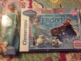 Disney Frozen toys bundle: Elsa doll, Frozen puzzle 104 pieces & Stamps colour set - New - Sealed