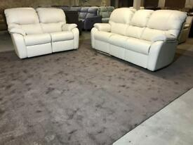 NEW G PLAN MISTRAL 3 and 2 SEATER RECLINER SOFA CREAM REAL LEATHER THREE TWO 5 SEATER