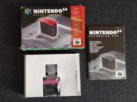 Official N64 Nintendo 64 Expansion Pak - Complete box, insert, manual and baggie