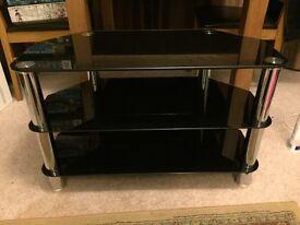 TV Unit / Table - Black Glass and Chrome legs.