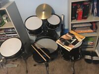5 piece Junior Drum Kit, 4 Trinity Guildhall Drum Kit Books 1-4 inc CD's, 2 sets of drumsticks