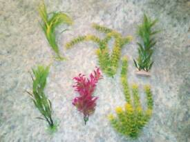 Artificial plants and ornaments for aquarium.