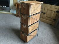 Four drawer free standing wicker storage unit 25x11x7