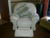 LEATHER ARMCHAIR WITH FOOT REST