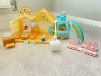 Sylvanian Families Forest Nursery and Sunshine Nursery Bus with elephant family and baby rabbits