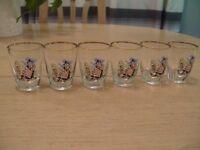 Set of 6 Welsh lady shot glasses