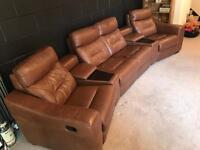 LEATHER 4 SEATER SOFA IN UPGRADED TAN LEATHER