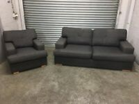 FREE DELIVERY GREY FABRIC 2 SEAT SOFA & ARMCHAIR SET