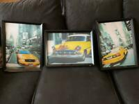 3 x Framed pictures of Taxis