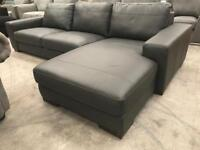 Brand new grey real leather chaise corner sofa