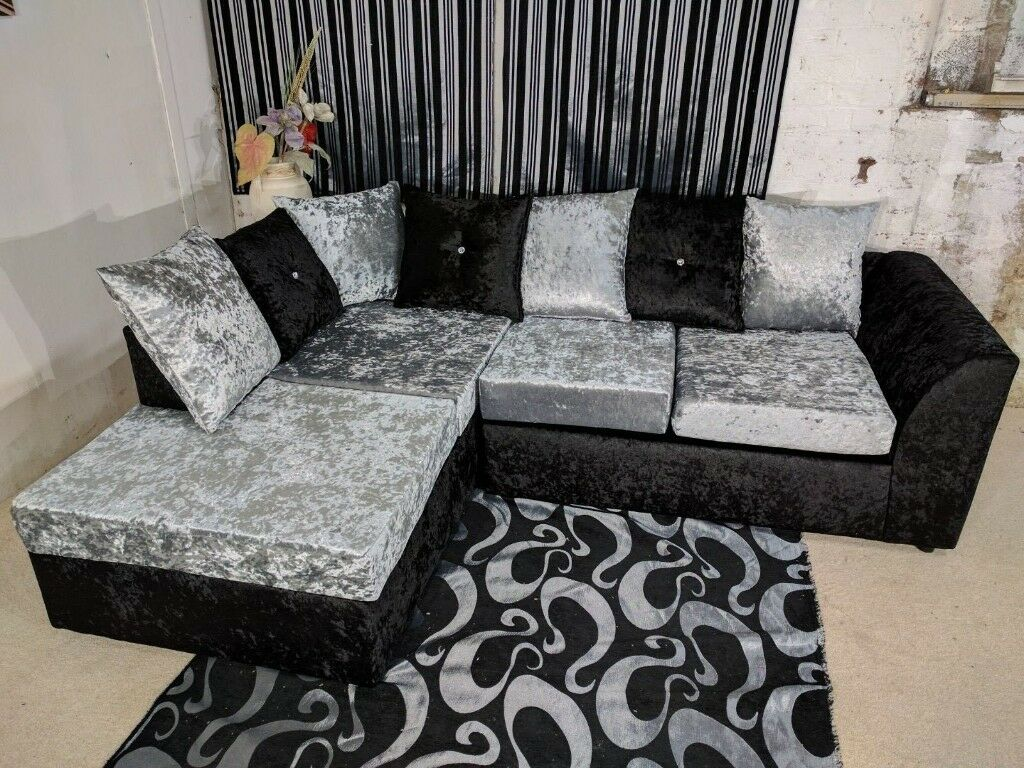 Brand new dylan corner and 3 2 seater sofa suite silver black color crushed velvet fabric