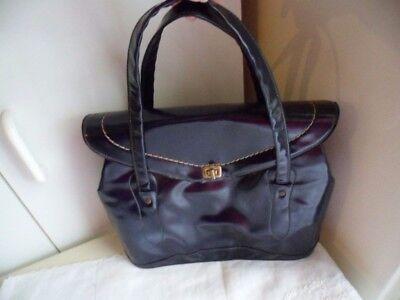 1950s Handbags, Purses, and Evening Bag Styles Rockabilly Vintage 1950s navy blue patent leather handbag hand bag Pinup purse $61.20 AT vintagedancer.com