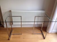 JOHN LEWIS Staten 140cm wide Modern Clear Glass Desk with Chrome Trestles