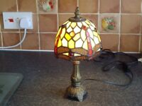 TIFFANY LAMP , STANDS 12'' IN HEIGHT ALSO HAS SWITCHED LEAD .