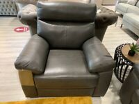 Armchair in full genuine leather colour grey