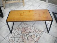 Metal-framed, Wood-topped Side Table