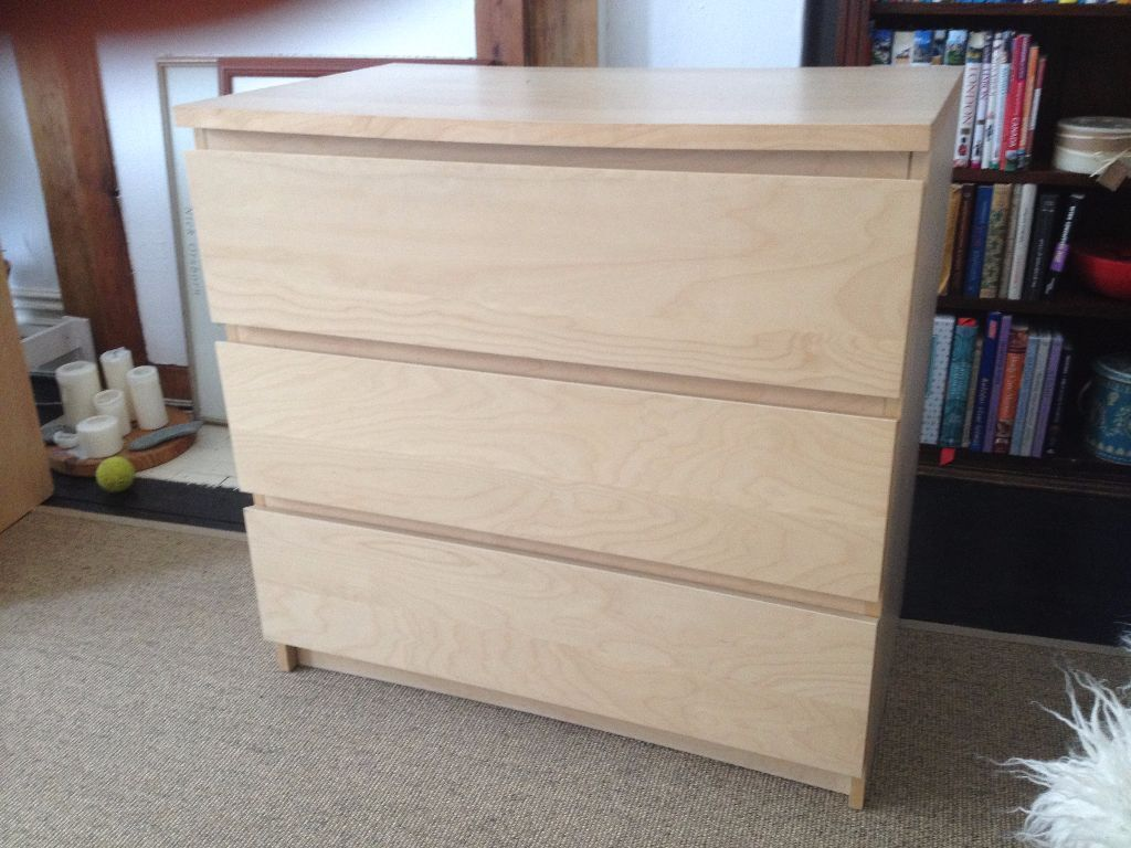 Birch Effect Chest Of Drawers From Ikea Malm Range  Good Size Drawers Very